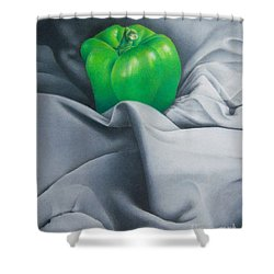 Shower Curtain featuring the painting Simply Green by Pamela Clements