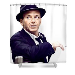 Sinatra.  Frank Sinatra Shower Curtain by Iconic Images Art Gallery David Pucciarelli