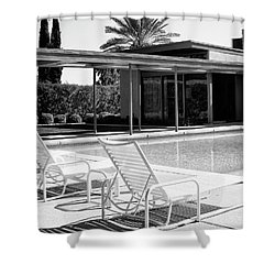 Sinatra Pool Bw Palm Springs Shower Curtain by William Dey