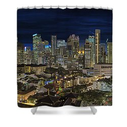 Singapore Central Business District Skyline And Chinatown At Dus Shower Curtain by David Gn