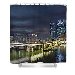 Singapore City By The Fullerton Pavilion At Night Shower Curtain by David Gn