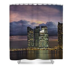 Singapore City Skyline At Sunset Panorama Shower Curtain by Jit Lim