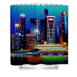 Singapore In Black Light Sold Shower Curtain