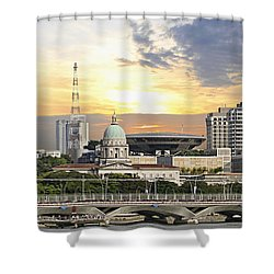 Singapore Parliament Building And Supreme Law Court  Shower Curtain by David Gn