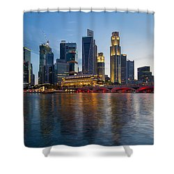 Singapore River Waterfront Skyline At Sunset Shower Curtain by Jit Lim