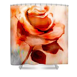 Single Rose Painting Shower Curtain by Annie Zeno