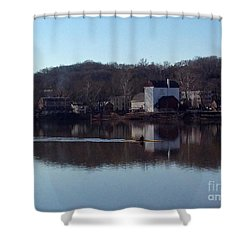 Single Scull On The Delaware Shower Curtain