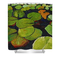 Singleton Lily Pads Shower Curtain by Phil Chadwick