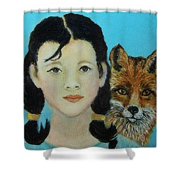 Sinopa Little Fox Shower Curtain by The Art With A Heart By Charlotte Phillips
