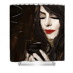 Sip Of Relaxation Shower Curtain by Lourry Legarde
