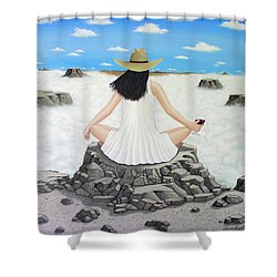 Shower Curtain featuring the painting Sippin' On Top Of The World by Lance Headlee