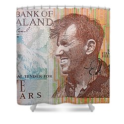 Sir Edmund Hillary Signed Banknote Shower Curtain