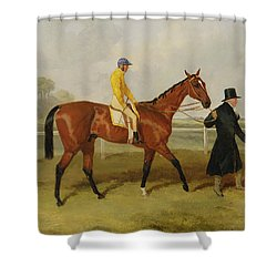 Sir Tatton Sykes Leading In The Horse Sir Tatton Sykes With William Scott Up Shower Curtain by Harry Hall