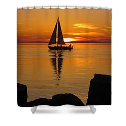 Sister Bay Sunset Sail 2 Shower Curtain