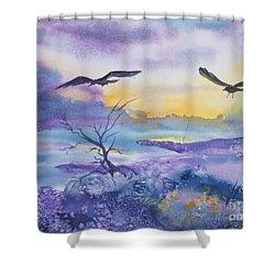 Sister Ravens Shower Curtain by Ellen Levinson