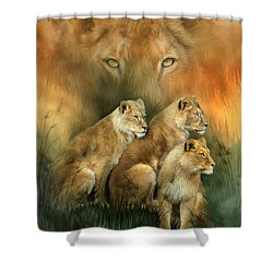 Sisterhood Of The Lions Shower Curtain by Carol Cavalaris