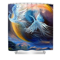 Sisters-birds Of Paradise Shower Curtain by Irene Pomirchy