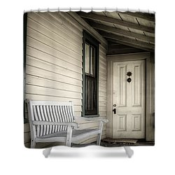 Sit Awhile Shower Curtain by Joan Carroll