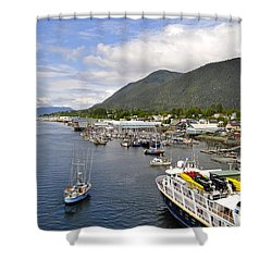 Sitka Channel Shower Curtain by Cathy Mahnke