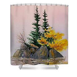 Shower Curtain featuring the painting Sitka Isle by Teresa Ascone