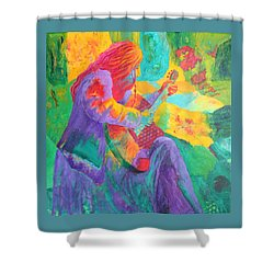 Shower Curtain featuring the painting Sit'n And Pick'n by Nancy Jolley