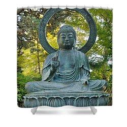 Sitting Bronze Buddha At San Francisco Japanese Garden Shower Curtain by David Gn
