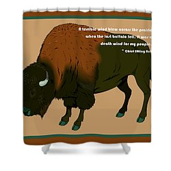Sitting Bull Buffalo Shower Curtain by Digital Creation