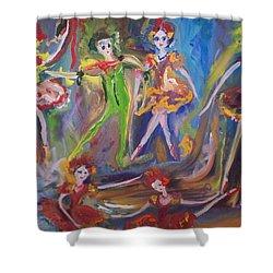 Six Eight Waltz Shower Curtain by Judith Desrosiers