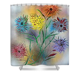 Six Flowers Shower Curtain by Greg Moores