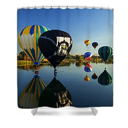 Six On The Pond Shower Curtain by Mike  Dawson