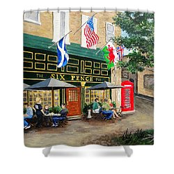 Six Pence Pub Shower Curtain