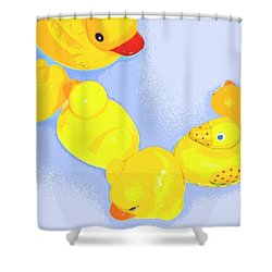 Six Rubber Ducks Shower Curtain by Valerie Reeves