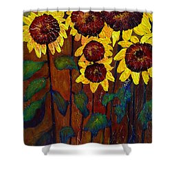 Six Sunflowers Shower Curtain by Claire Bull