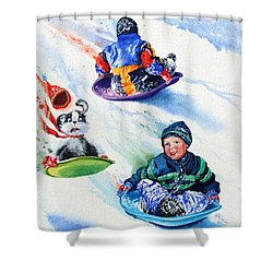 Sizzling Saucers Shower Curtain by Hanne Lore Koehler