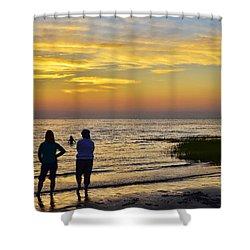 Skaket Beach Sunset 4 Shower Curtain by Allen Beatty