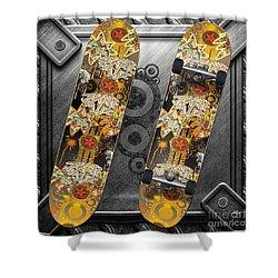 Skateboard Shower Curtain by Mo T