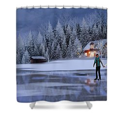 Skating At Christmas Night Shower Curtain