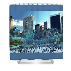 Skating Fantasy Wollman Rink New York City Shower Curtain by Tom Wurl