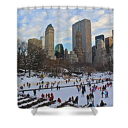 Skating In Central Park Shower Curtain