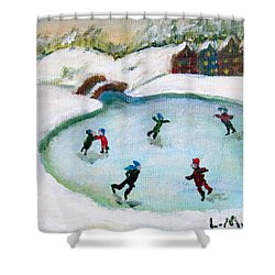 Skating Pond Shower Curtain by Laurie Morgan