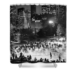 New York City - Skating Rink - Monochrome Shower Curtain