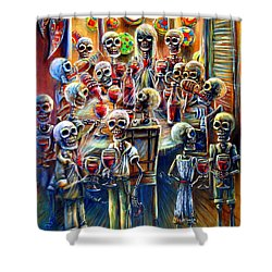 Skeleton Wine Party Shower Curtain