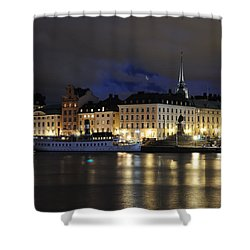 Skeppsbron At Night Shower Curtain by Jeremy Voisey