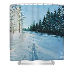 Shower Curtain featuring the painting Ski Tracks by Martin Howard