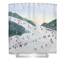 Ski Vening Shower Curtain by Judy Joel