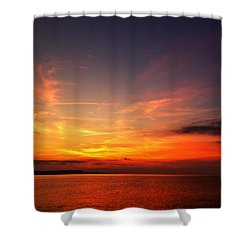 Shower Curtain featuring the photograph Skies On Fire by Baggieoldboy