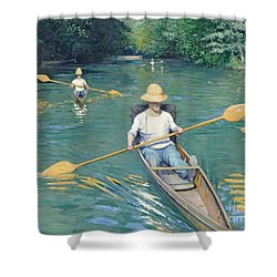 Skiffs Shower Curtain by Gustave Caillebotte