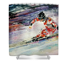 Skiing 01 Shower Curtain by Miki De Goodaboom