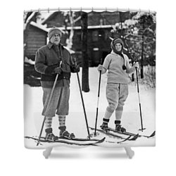 Skiing At Lake Placid In Ny Shower Curtain by Underwood Archives