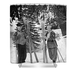 Skiing Badger Pass In Yosemite Shower Curtain by Underwood Archives